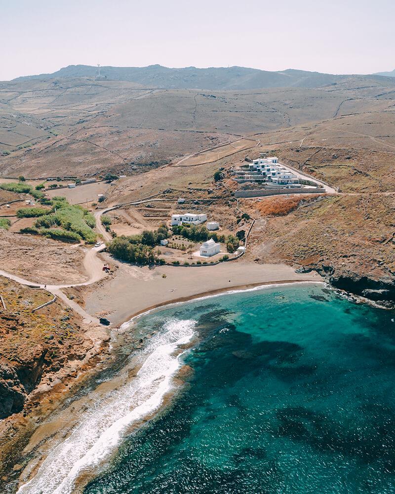 Merchia beach in Mykonos, Greek island