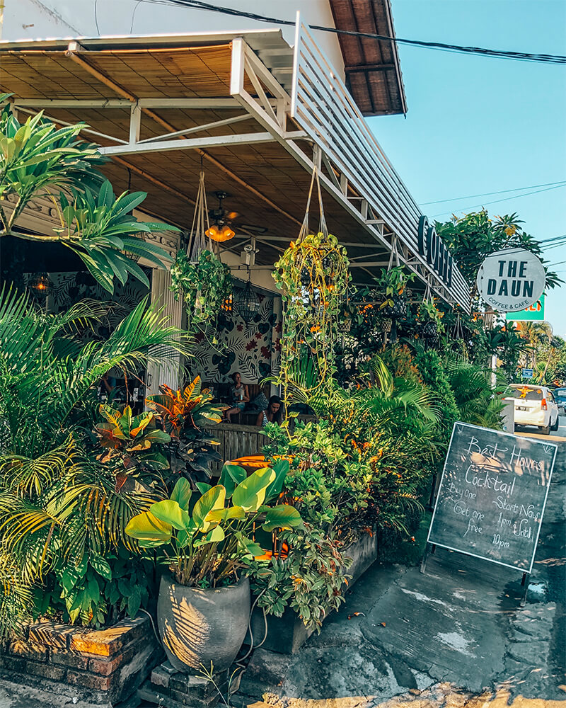 Exterior of the Daun cafe,  in Canggu, Bali, Indonesia