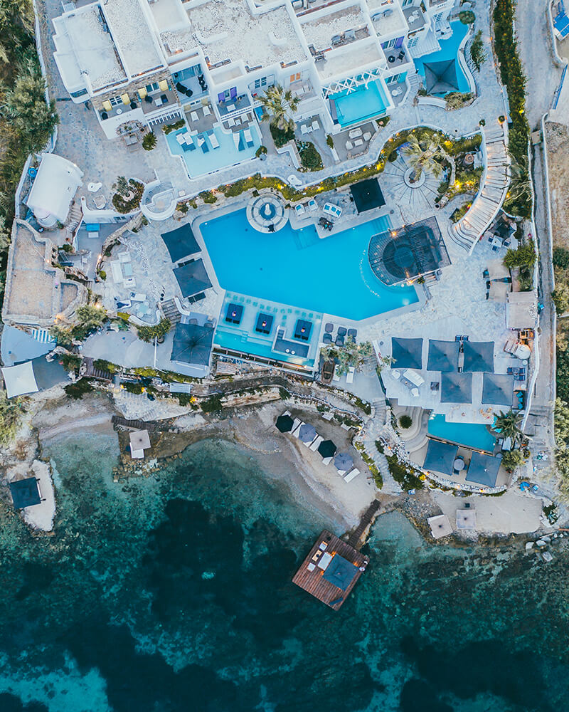 Kivotos hotel Mykonos, greece, drone shot of the pool and the sea in front of the hotel