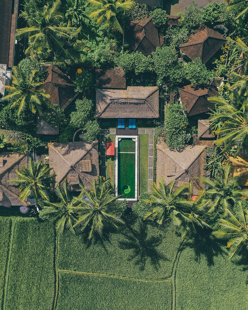 Amazing villa with the drone, with rice fields around, Ubud, Bali, Indonesia