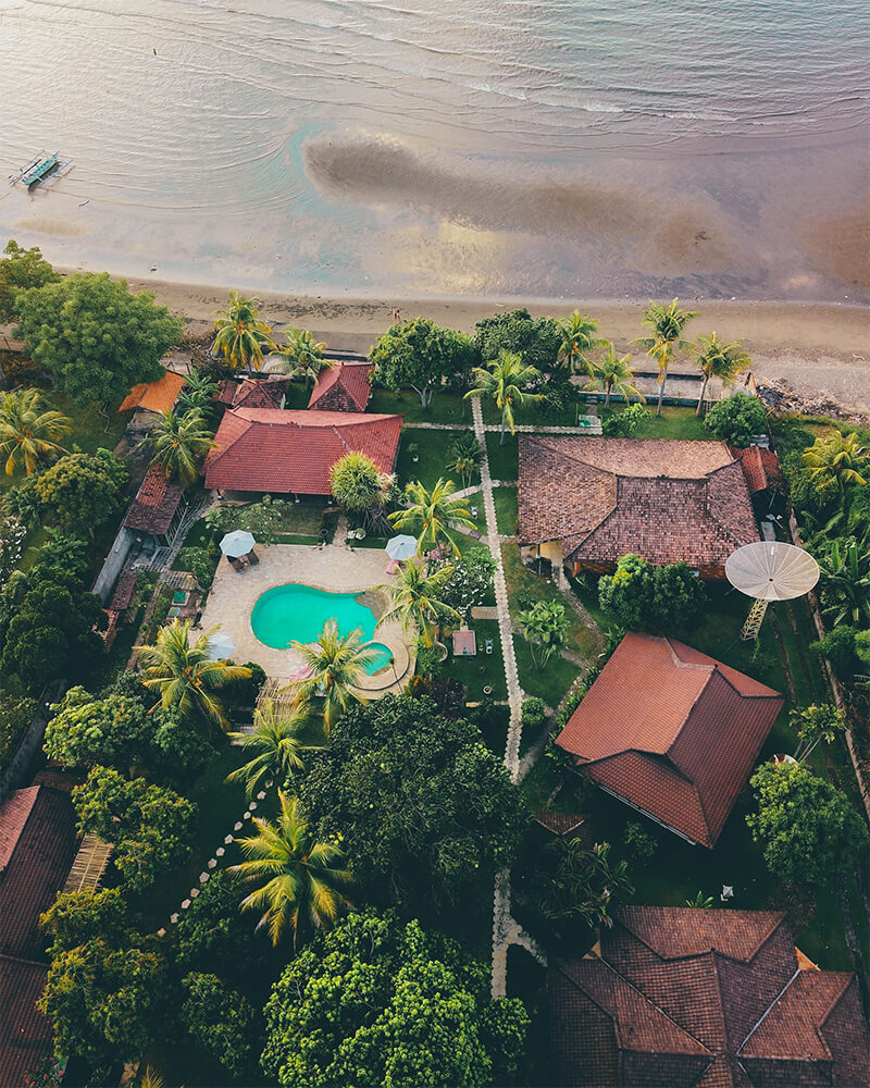 Bagus beach hotel Lovina, Bali, view from the drone and the black beach