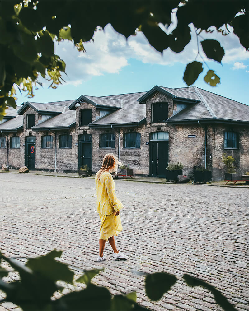Vestebro area, the meat packing district and me walking in a yellow dress