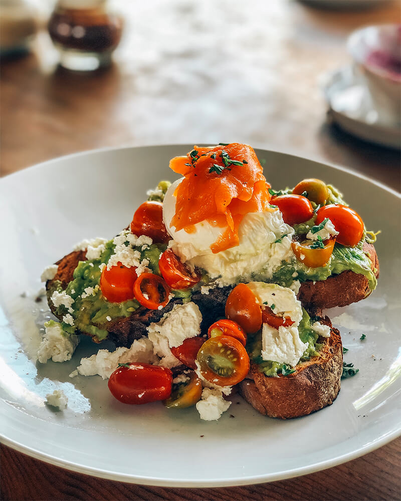 Eggs with feta cheese, breakfast at crate cafe,  in Canggu, Bali, Indonesia