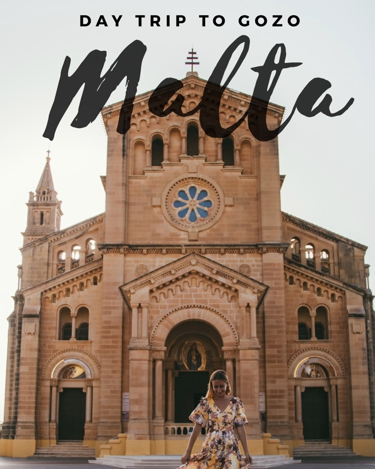 Pinterest graphic of me at Ta' Pinu church on a day trip to Gozo