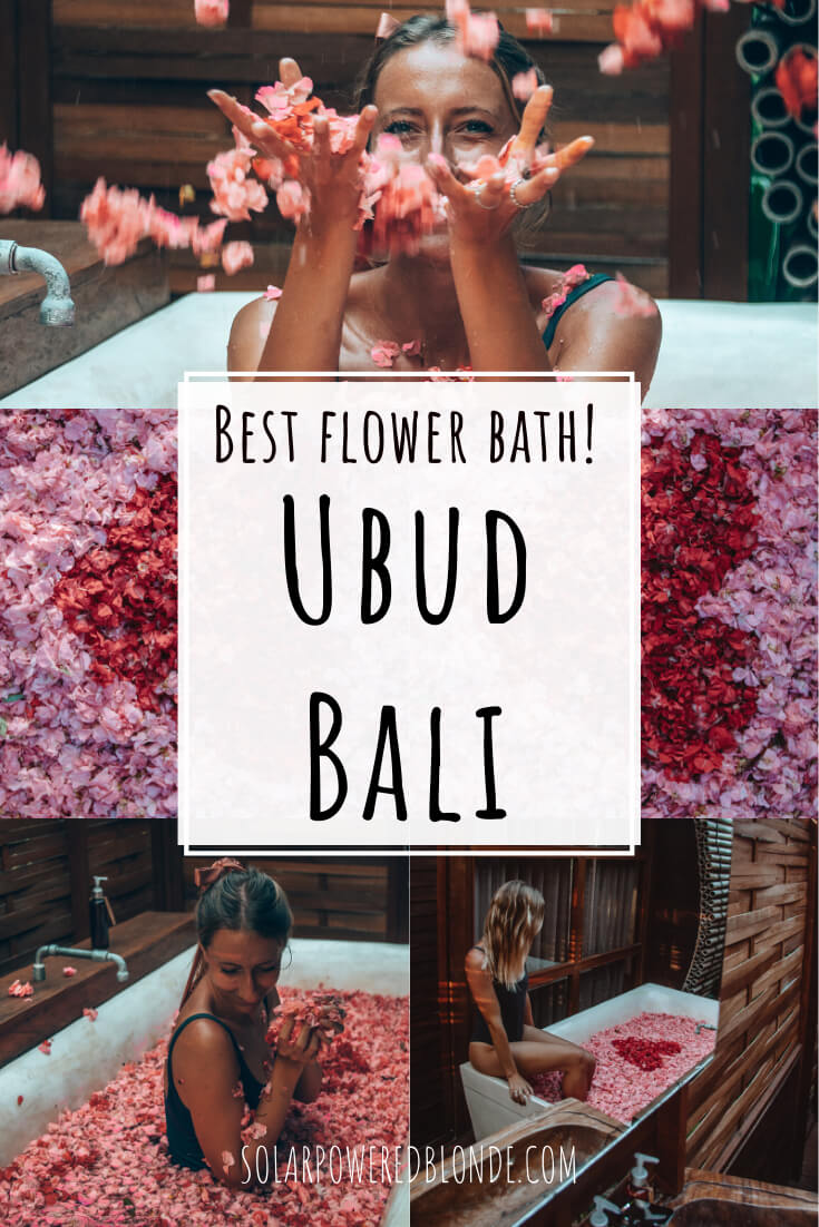 Collage of images from a Bali flower bath in Ubud with text overlay