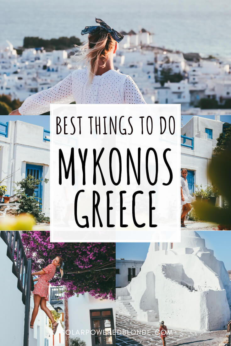 Photos from Mykonos town and instagrammable spots in Mykonos with text overlay for Pinterest