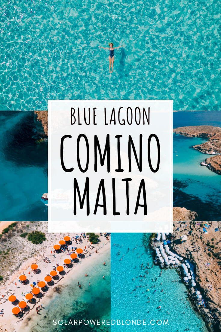 Collage of photos from Comino in Malta with text overlay