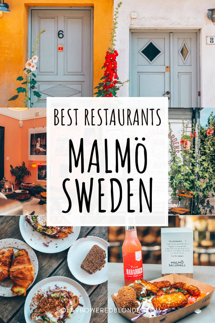 Collage of photos from restaurants in Malmö Sweden with text overlay