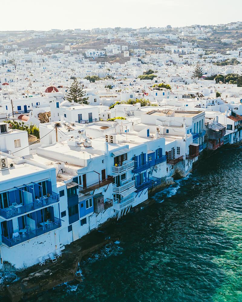 Little Venice in Mykonos, Greece shot with the drone