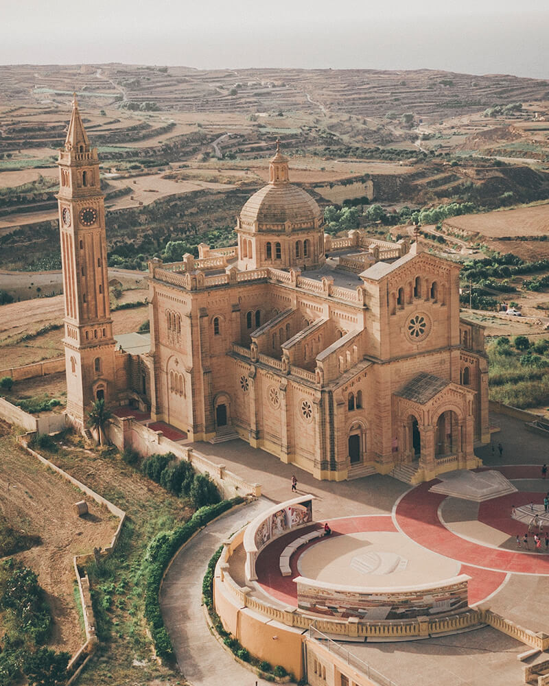 Ta' Pinu church shot with the drone on a Day trip to Gozo