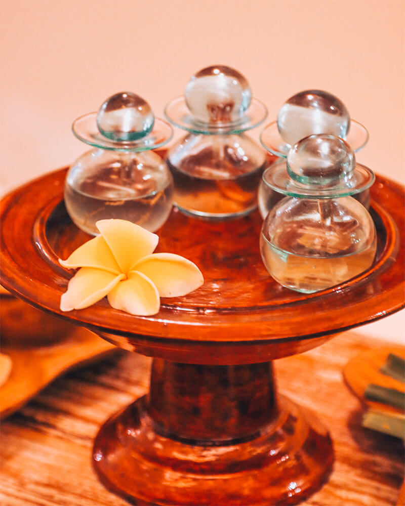 Three different oils to choose from at the best spa in bali for couples