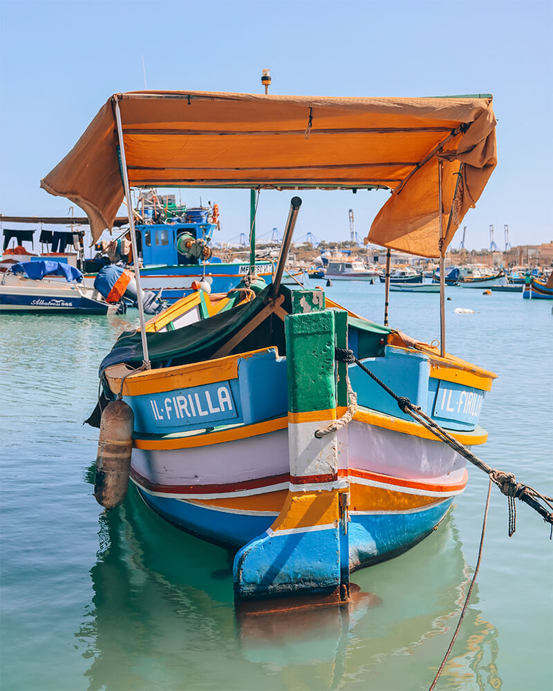 A small fishing boat at Marsaxlokk, South Malta