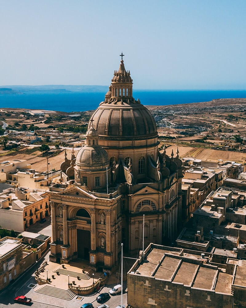 Xekwija Rotunda on Gozo Island, shot from the drone - Day trip to Gozo