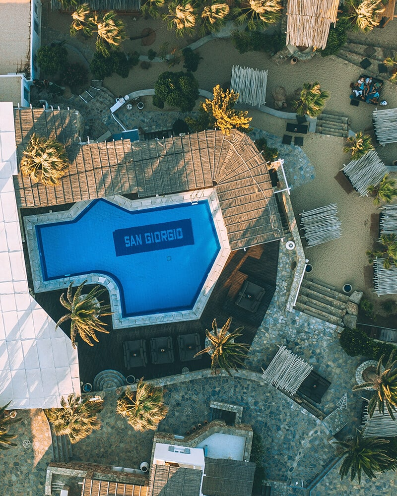 San Giorgio hotel from above taken with the drone of the pool and surrounding area