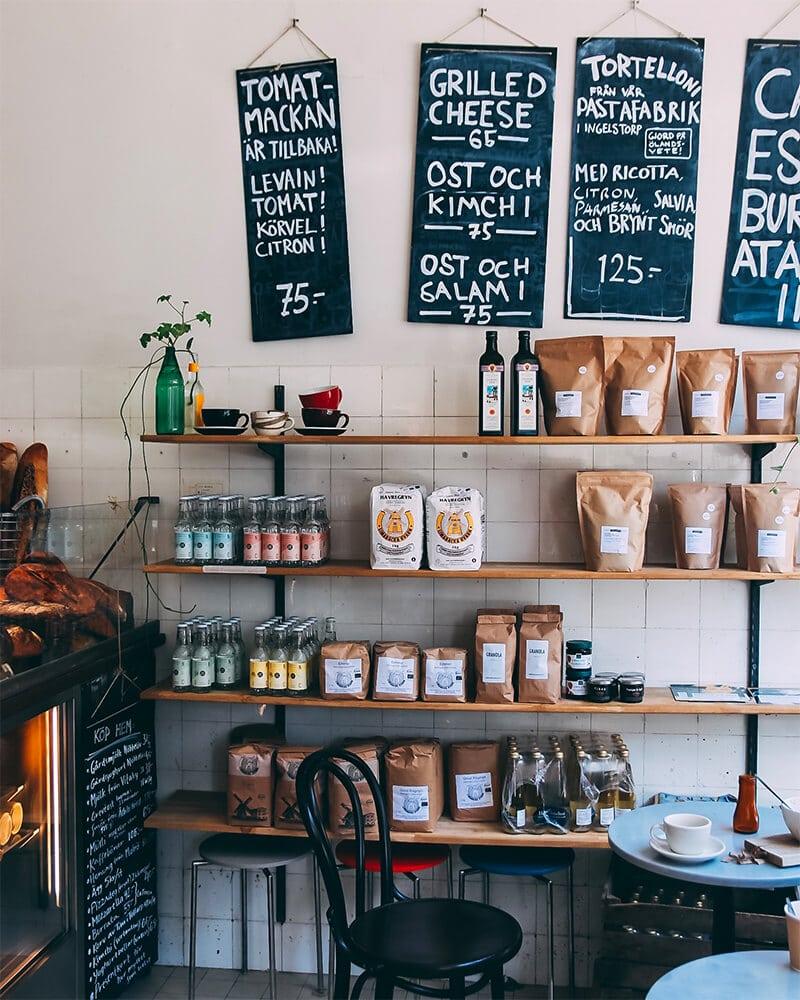 Soderberg and Sara cafe menu on the wall