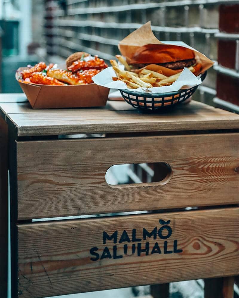 Malmo Saluhall, photo of the food on a chair