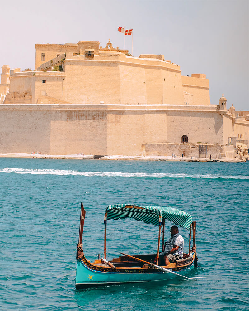 Small traditional boats in Valletta, Malta