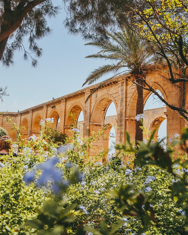 Upper Barakka Gardens in Valletta, Malta.