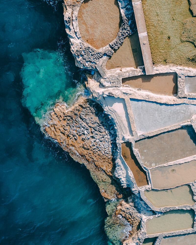 Saltpans shot with the drone at Gozo