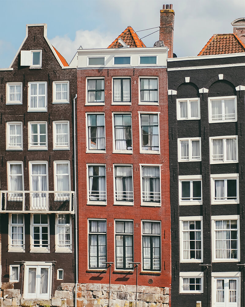 Traditional houses in Amsterdam central