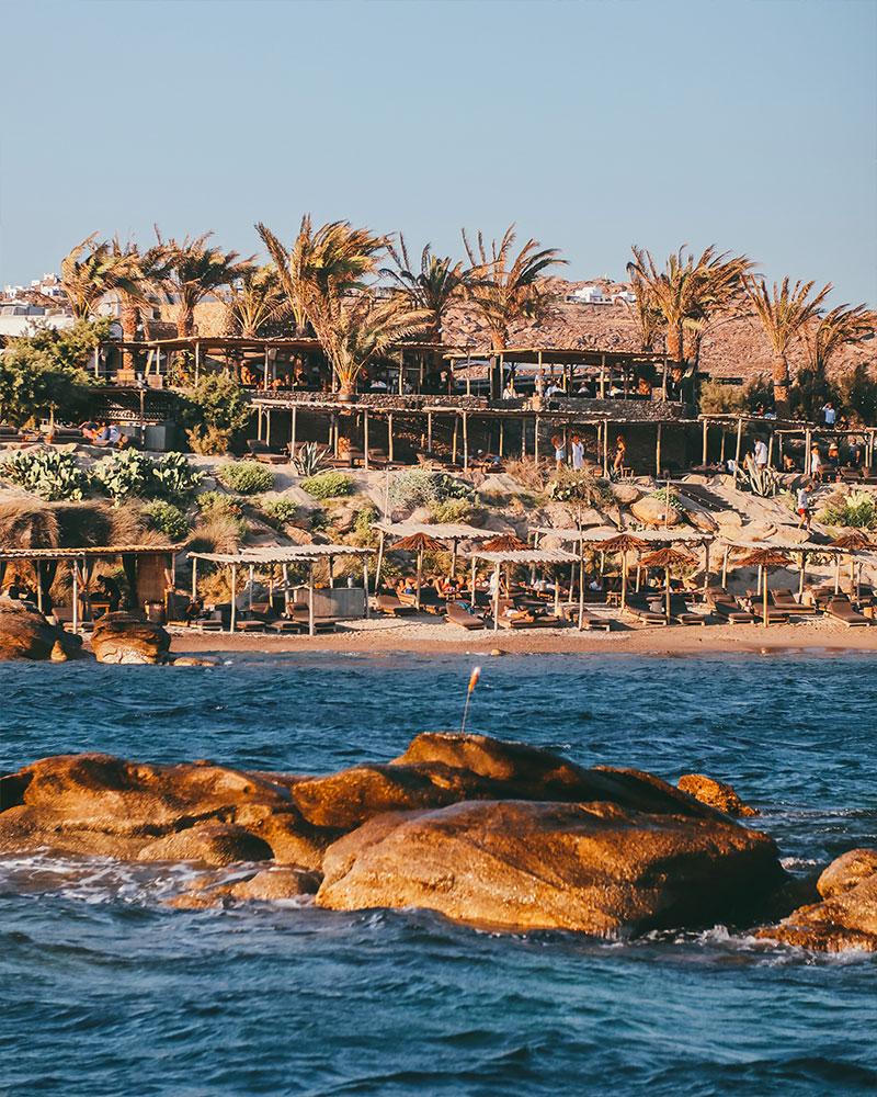 Scorpios beach club, photo taken from the sea