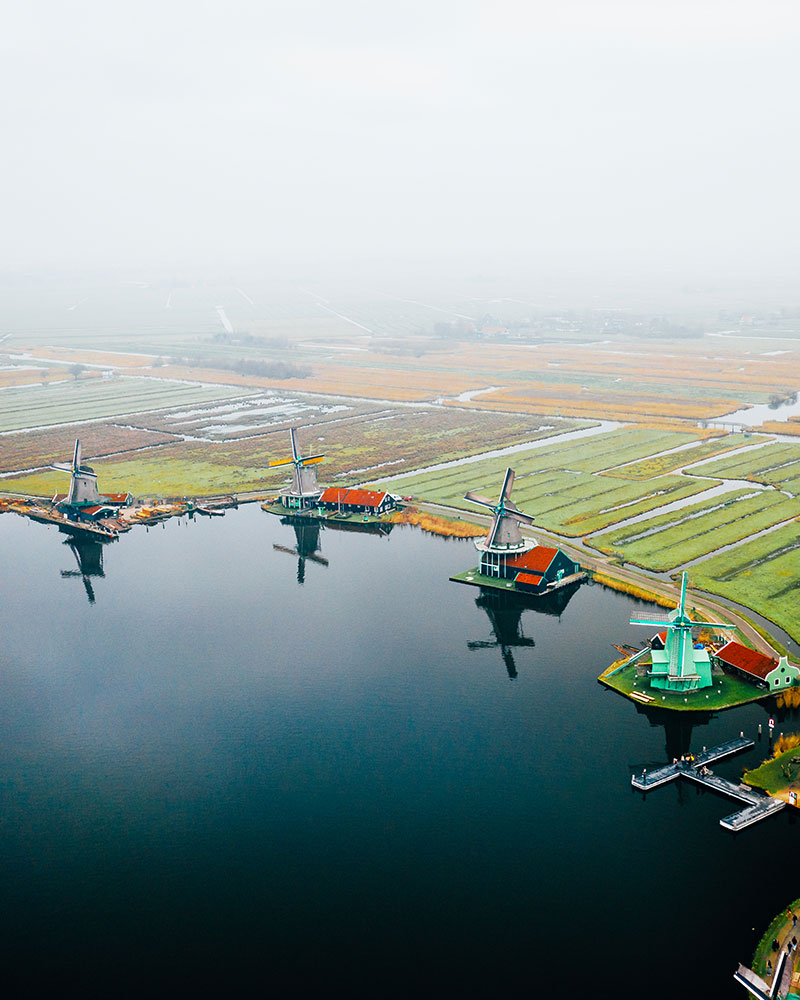 View of Zaanse Schans from above with 4 windmills, Amsterdam
