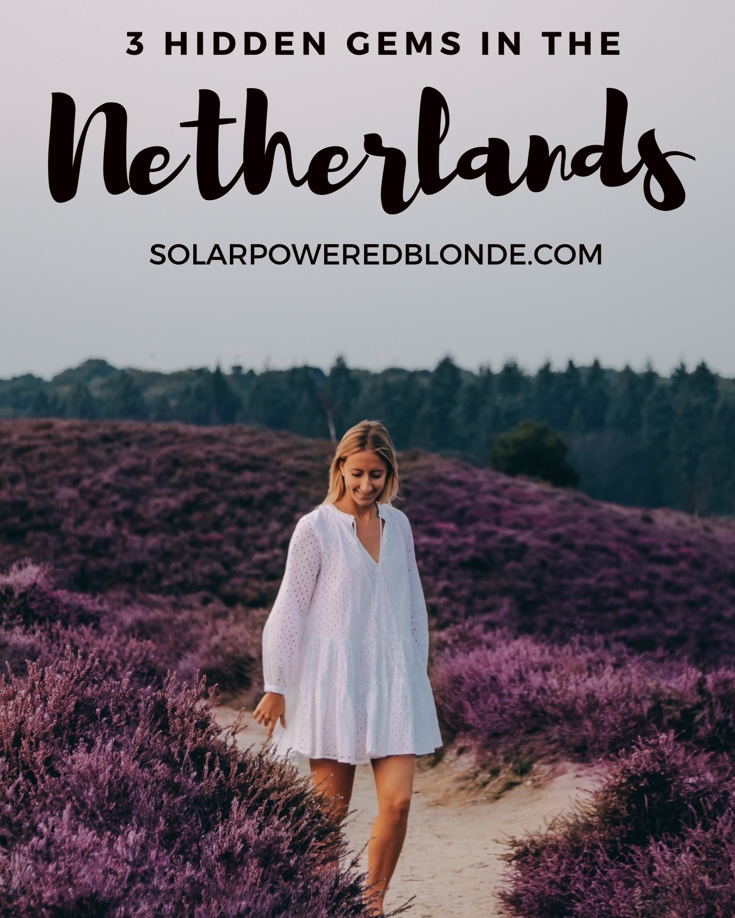 Hidden gems in the Netherlands - Pinterest graphic with me walking through heather