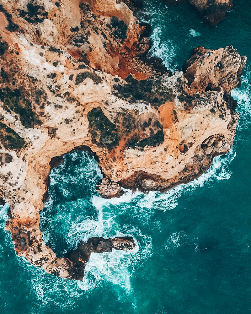 Rocks by the sea, taken with the drone