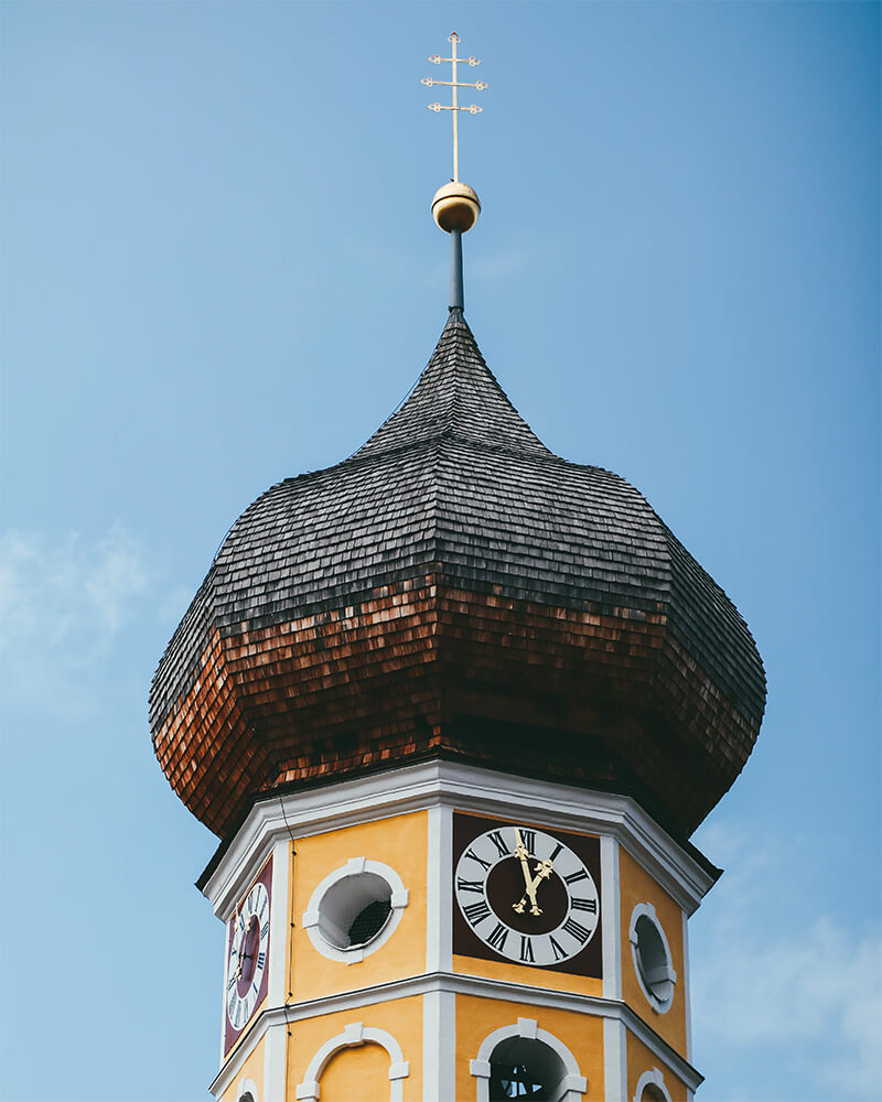 Top of a church in Schliersee town in Bavaria