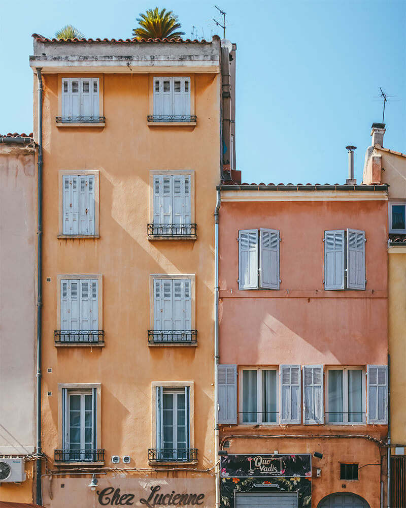 Some houses in Aix-en-Provence with pastel colour buildings