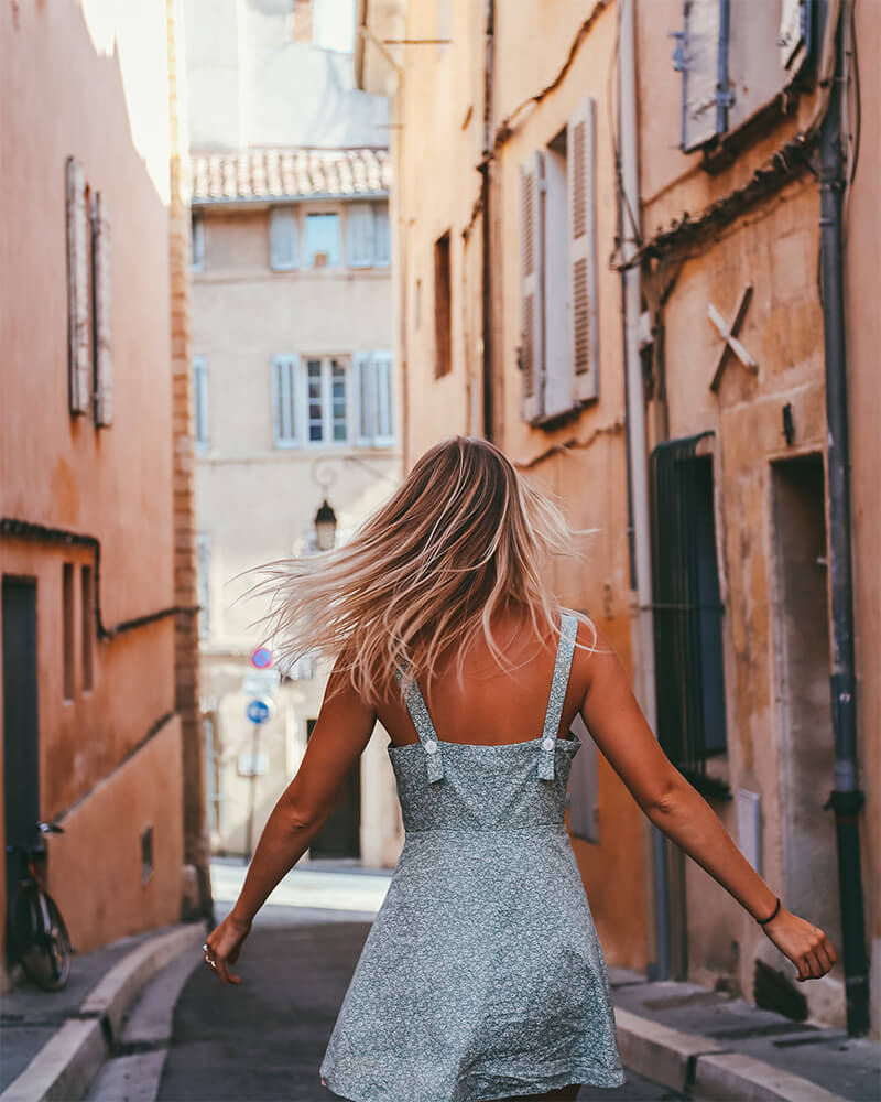 Me running through a village in Provence