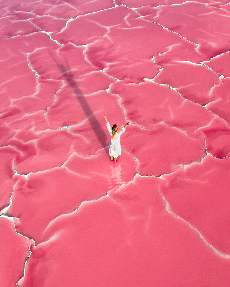 Pink lake in the south of France, me standing in the middle of it