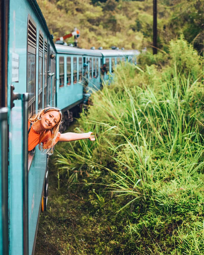 Me on the train to Ella from kandy, what to do in Ella and the perfect Ella Itinerary