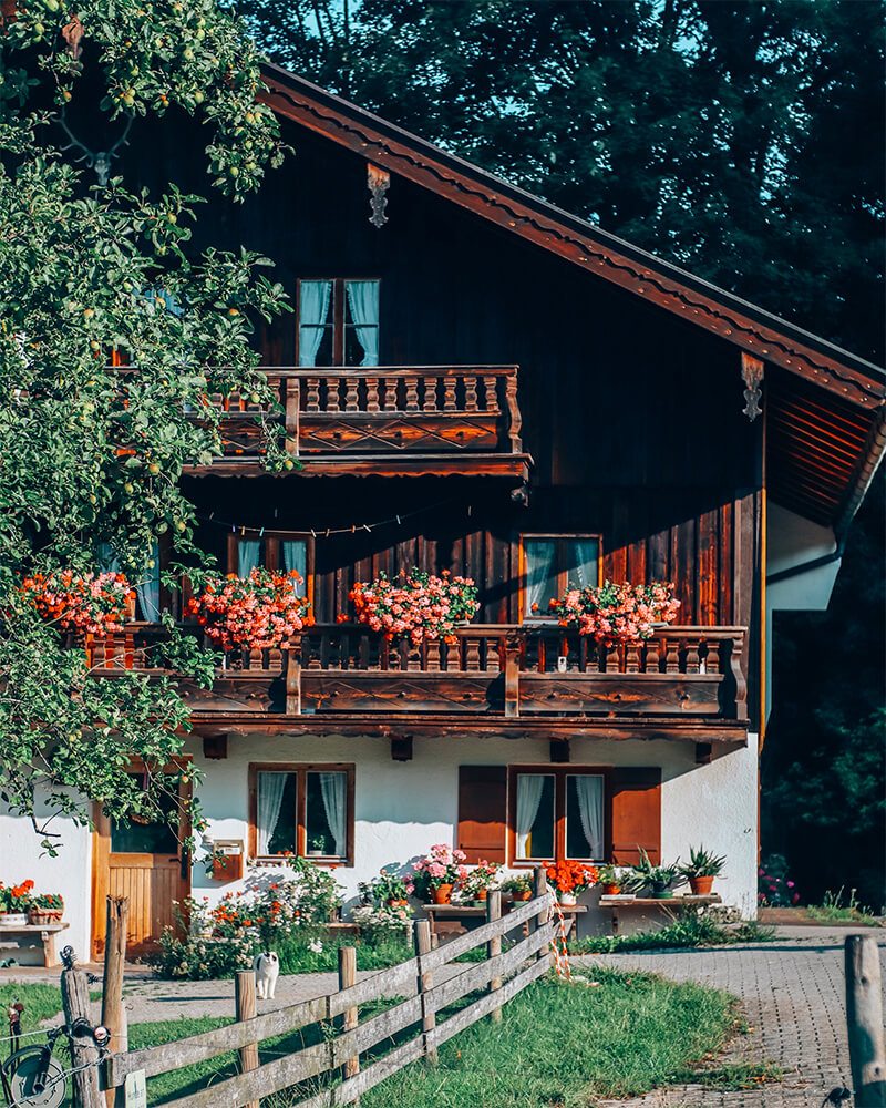 Traditional Bavarian house with flowers