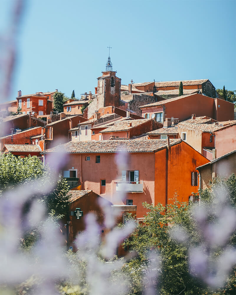 Roussillon village in Provence from far away