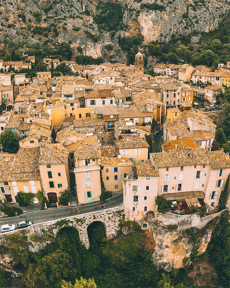 Drone shot of Moustiers Sainte Marie in Provence South of France