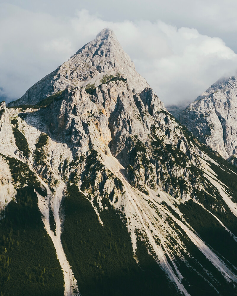 Zugspitze, the highest mountain in Germany covered in snow