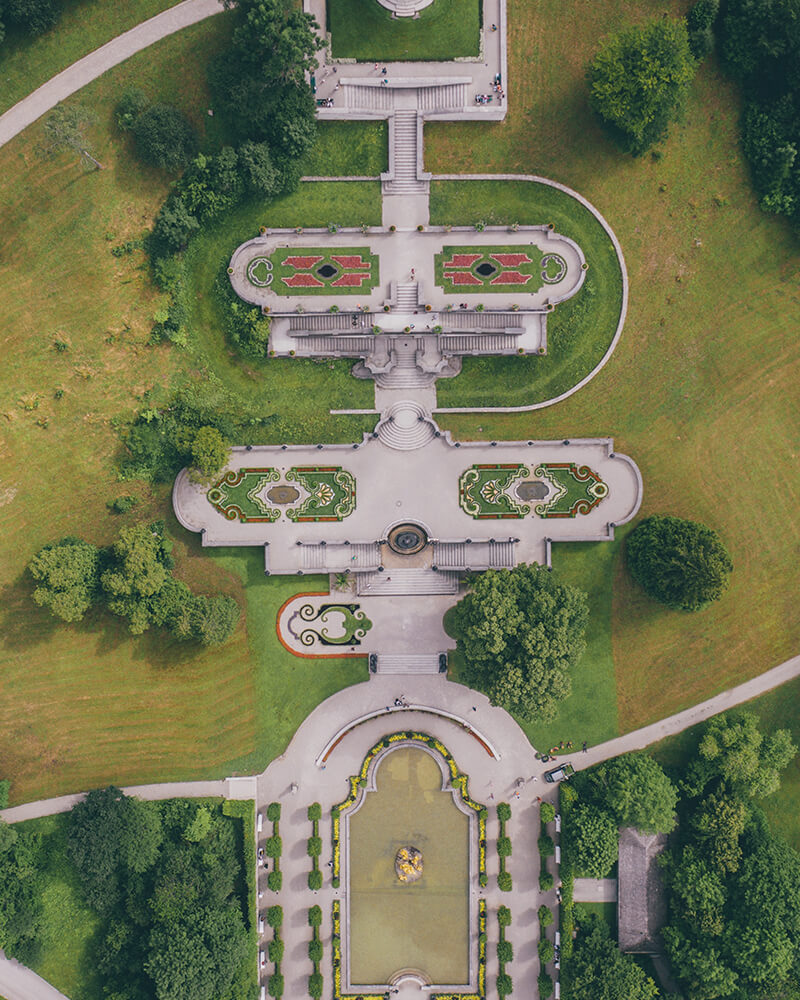 Drone shot of Schloss Linderhof