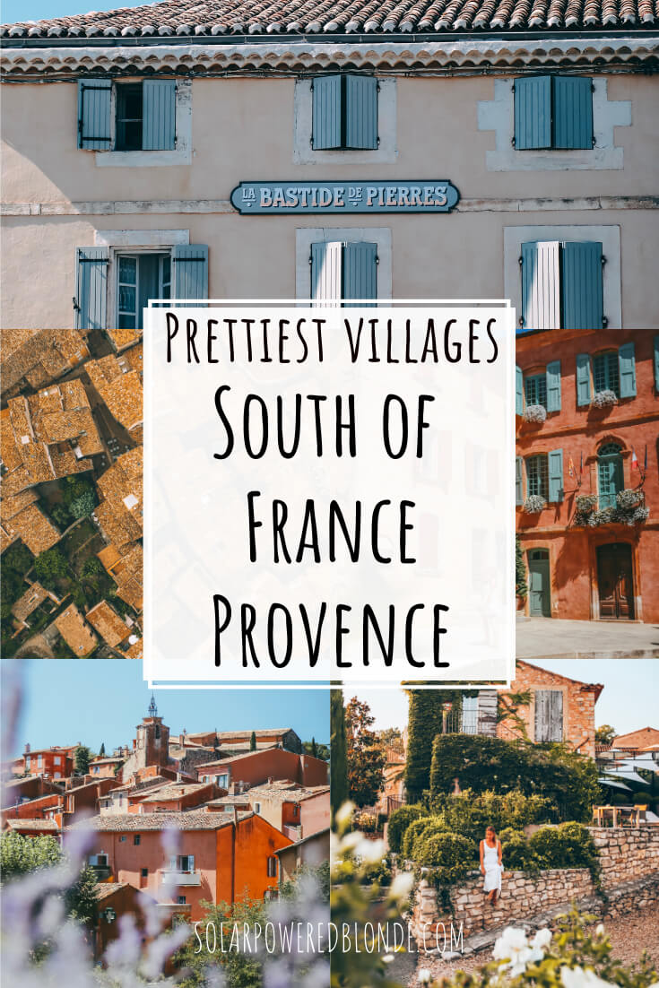 A collage of images from Rousillion and prettiest villages in Provence with text overlay