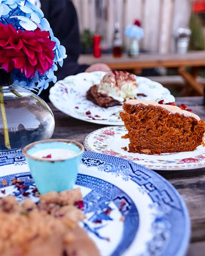 A selection of desserts at Portelet bay cafe, one of the best Jersey pubs and restaurants