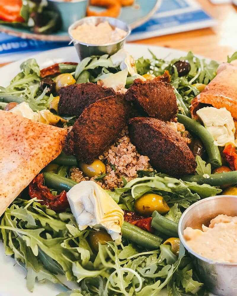 Mezze platter with falafel at one of the best Jersey pubs and restaurants with a sunset view