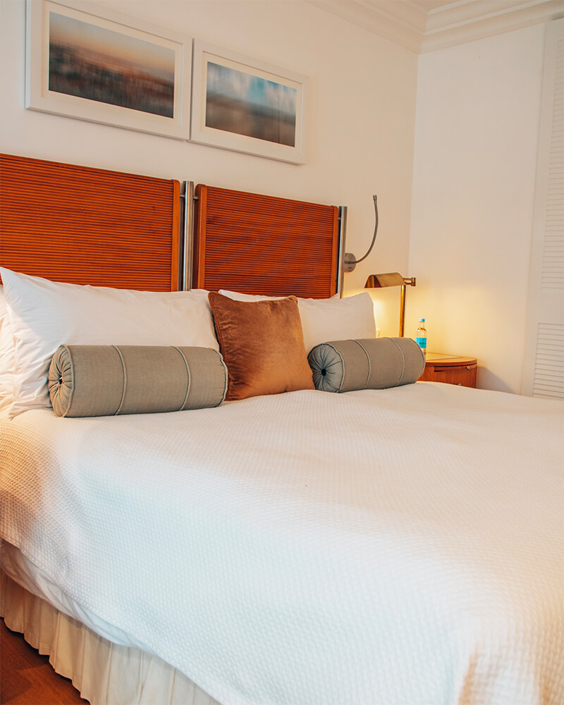 The bed at The Atlantic hotel, one of the best boutique hotels in Jersey