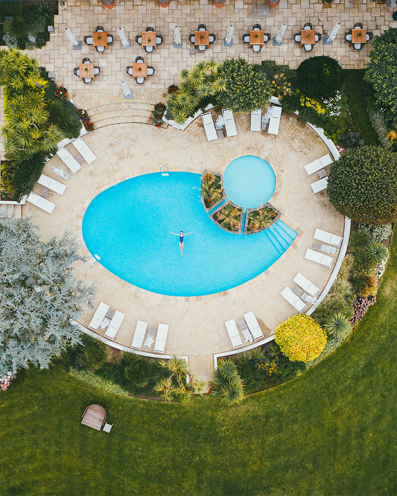 Drone shot of the pool in The Atlantic Hotel, one of the best boutique hotels in Jersey