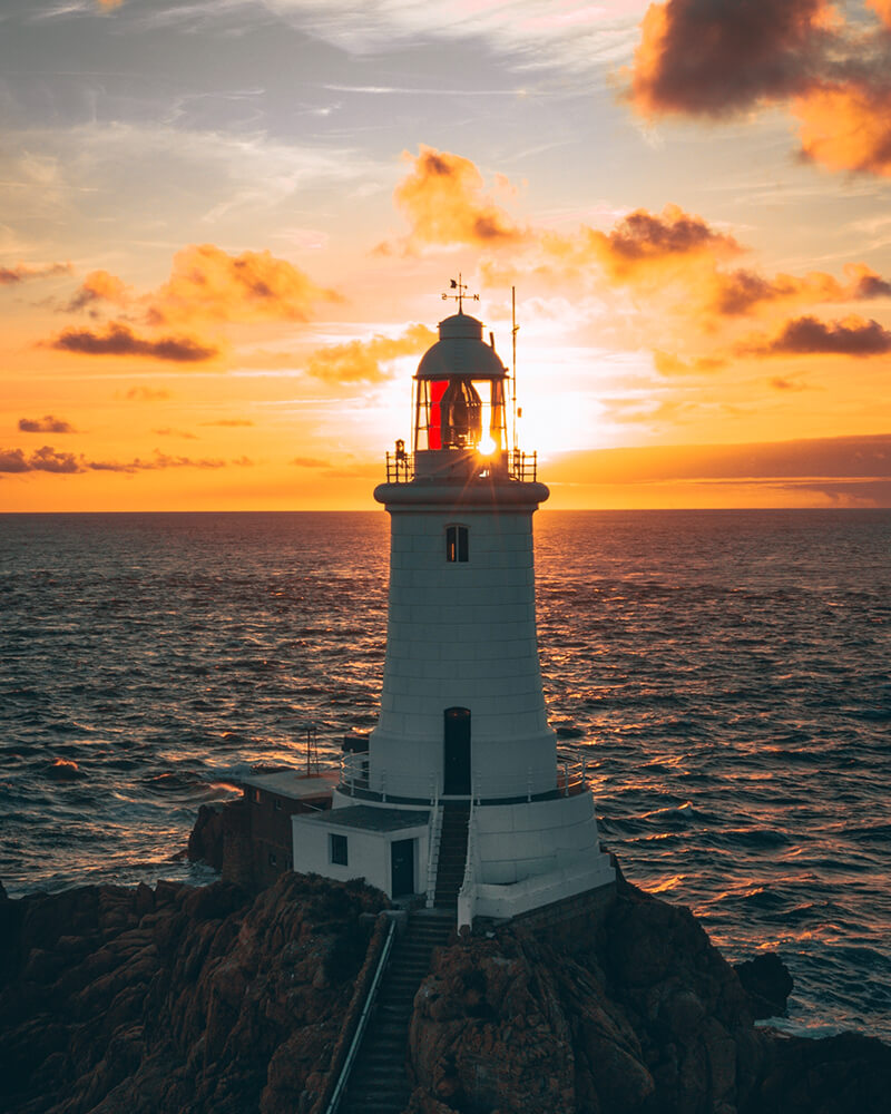 Corbiere Lighthouse in Jersey, right around the corner from one of the best boutique hotels in Jersey