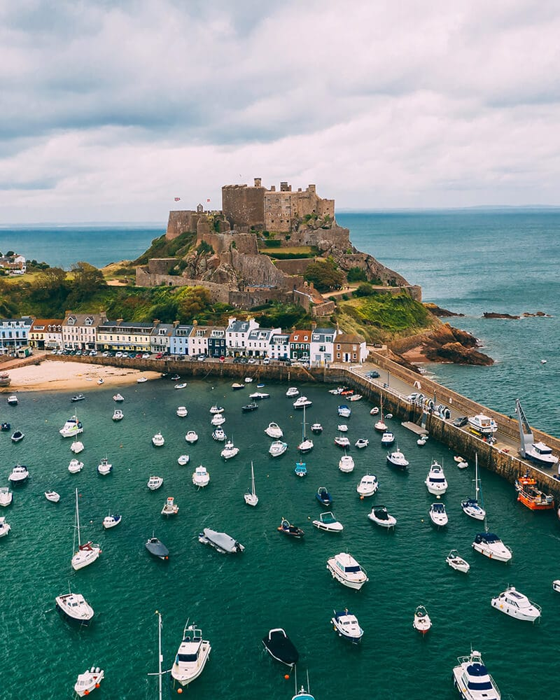 Gorey castle with the bay and boats in front