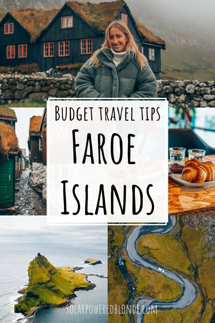 Collage of images from the Faroe Islands with text overlay - one of me in Kirkjubour, drone shots of the Faroe Islands