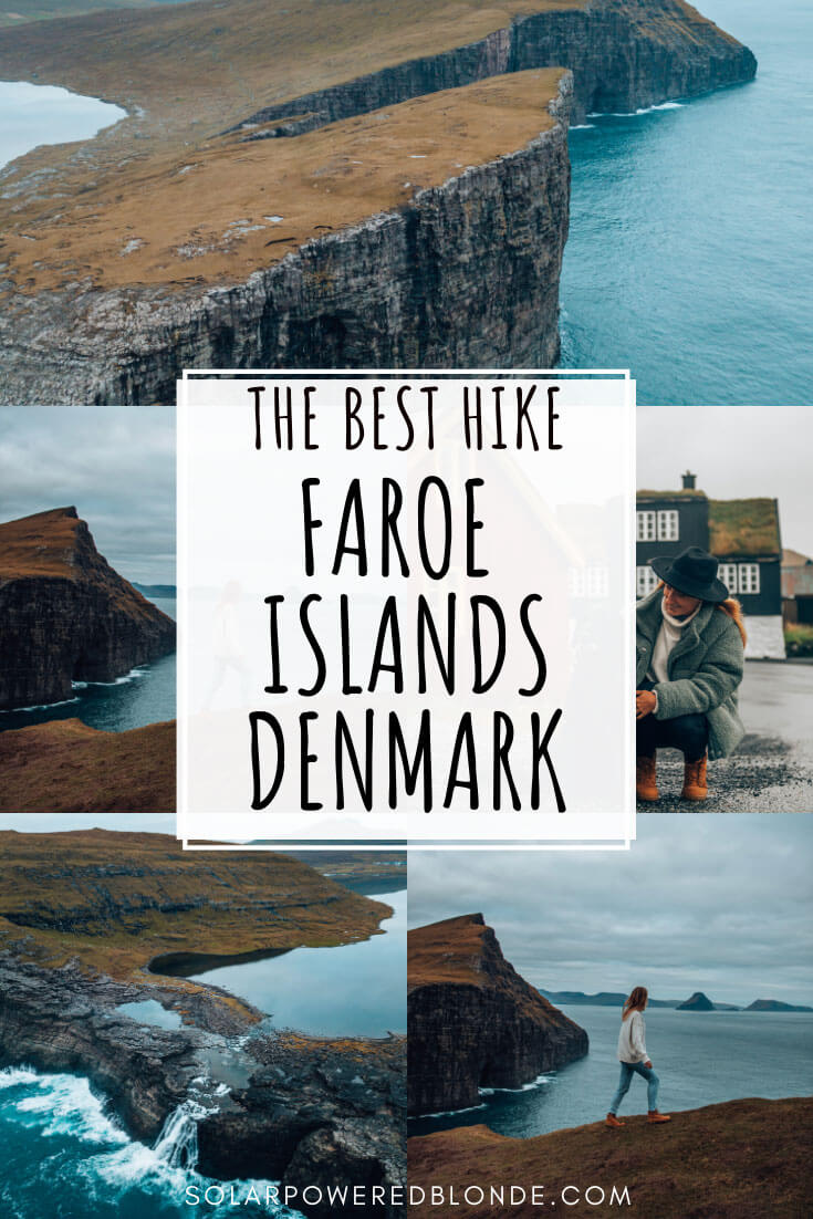 A collage of photos from one of the best hikes in the Faroe Islands with text overlay