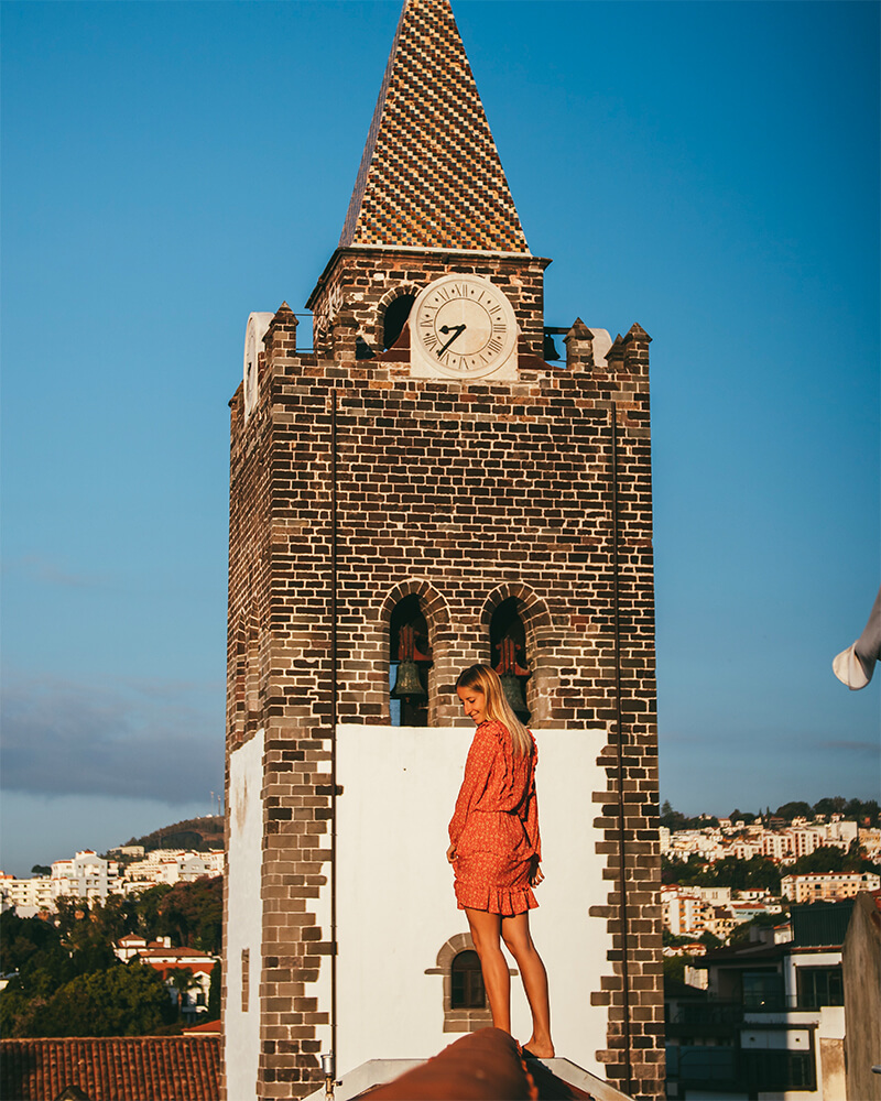 Me stood on the rooftop of Sé Boutique Hotel in Madeira