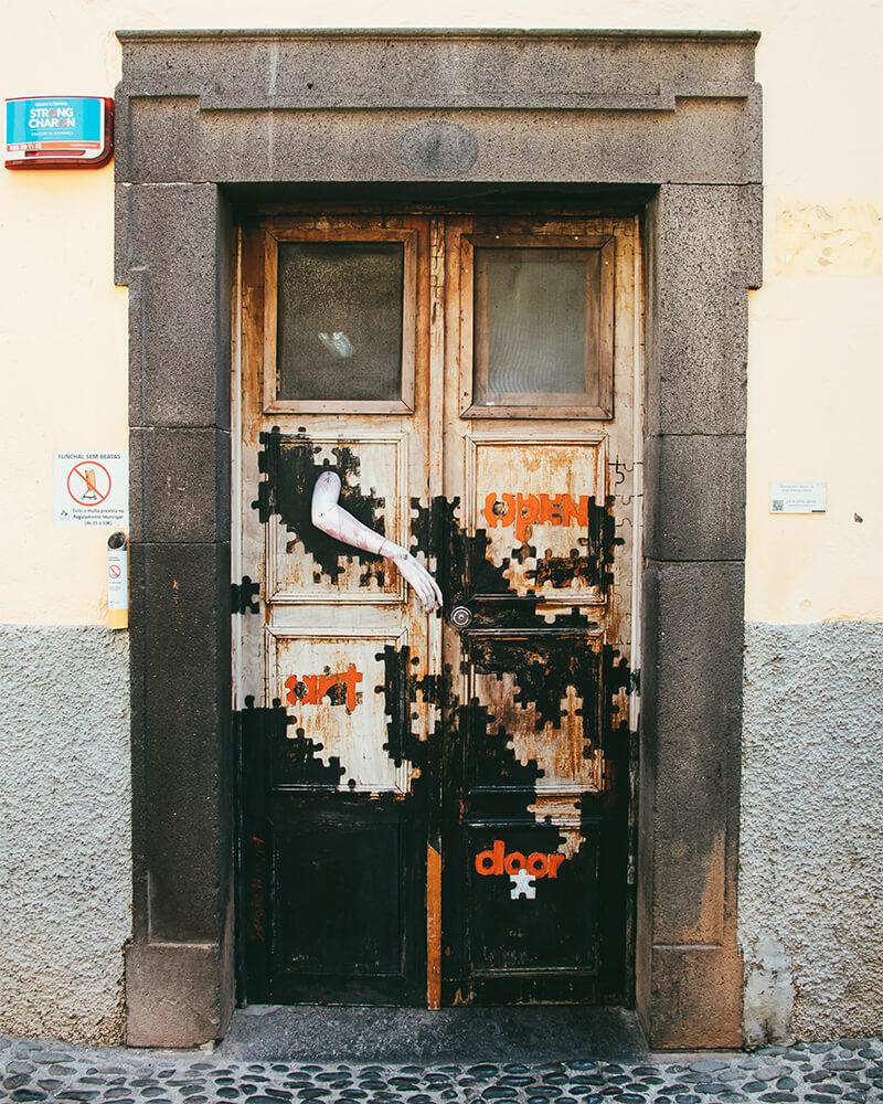 Funchal Old Town street art on the doors