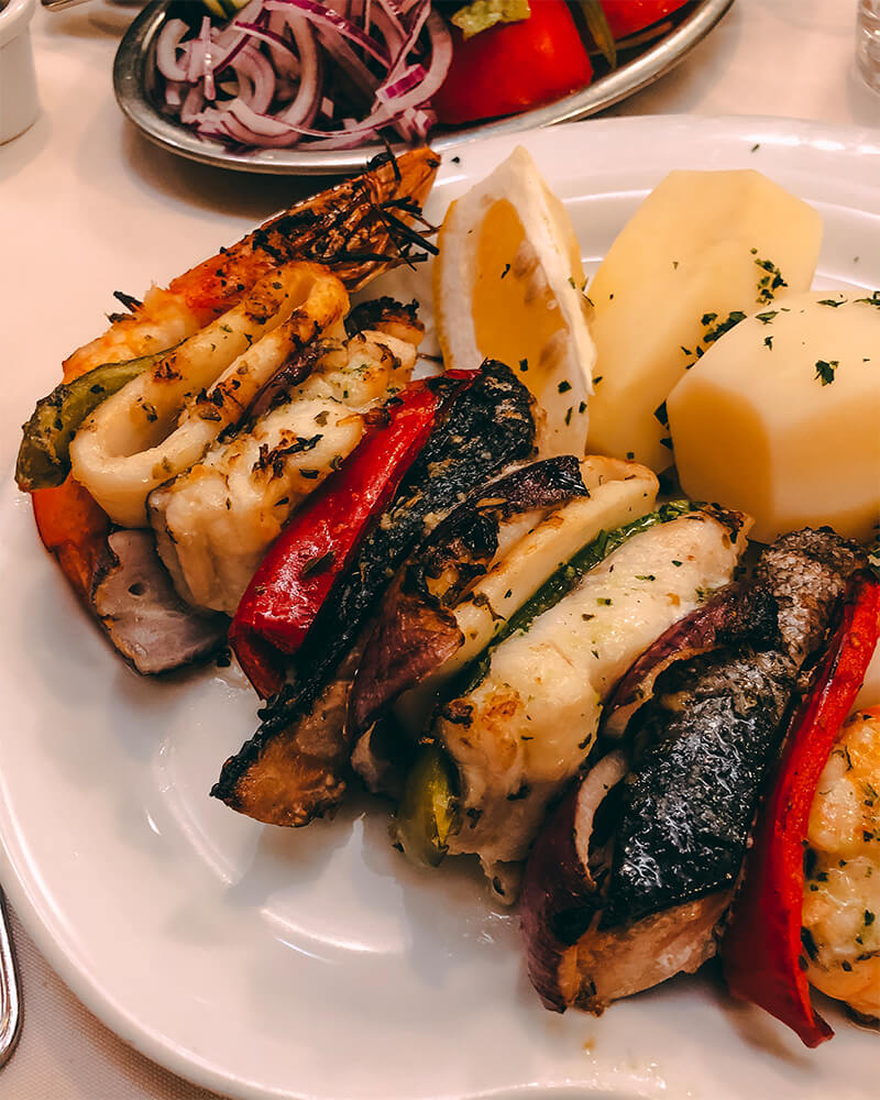 Seafood skewers for dinner in madeira